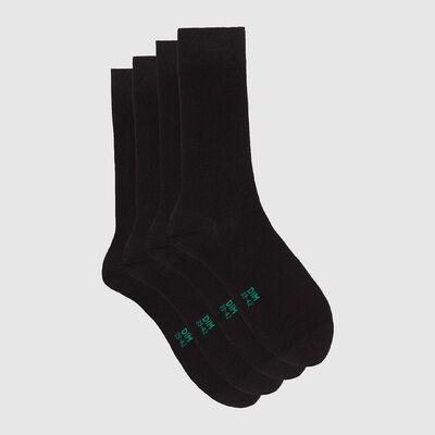 Lot de 2 paires de chaussettes hautes en coton bio Noir Green by Dim , , DIM