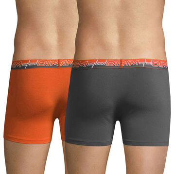 Lot de 2 boxers 3D Flex Dynamic orange et gris, , DIM