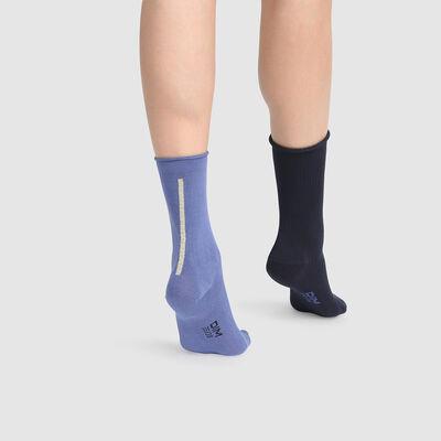 Lot de 2 paires de chaussettes mi hautes modal lurex or Bleu Dim Modal, , DIM