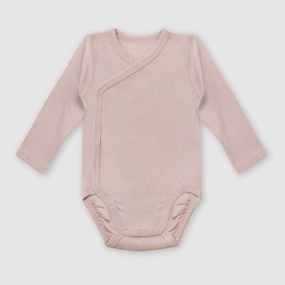 Lot de 2 body coton bio cache coeur à manches longues Fuchsia Dim Baby, , DIM