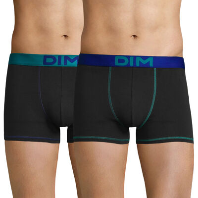 Lot de 2 boxers noirs ceintures et coutures bleues - Mix and Colors, , DIM