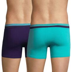 Lot de 2 boxers bleu lagune et violet auburn Soft Touch Pop-DIM