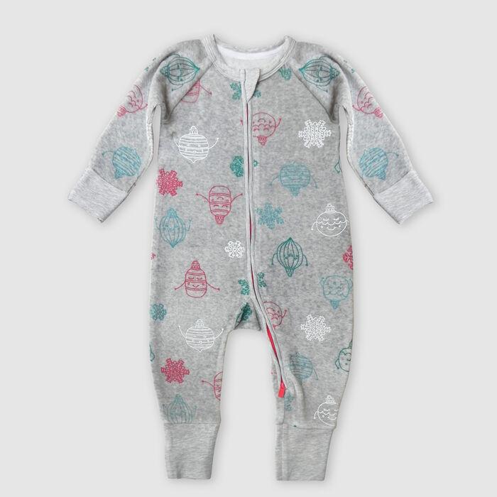 Pyjama bébé velours à zip double sens motif flocon gris Dim baby, , DIM