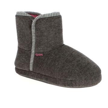 Chaussons bottes en velours gris foncé Femme-DIM