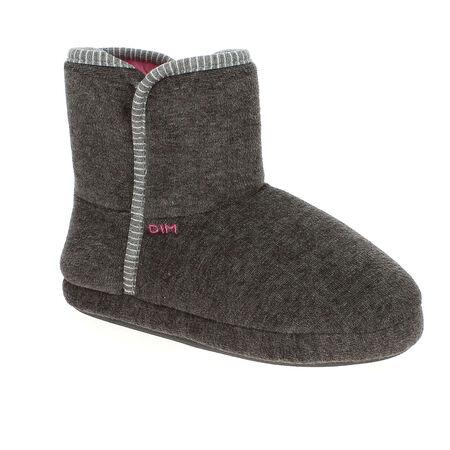 Chaussons bottes en velours gris foncé Femme fa06f32a3b90