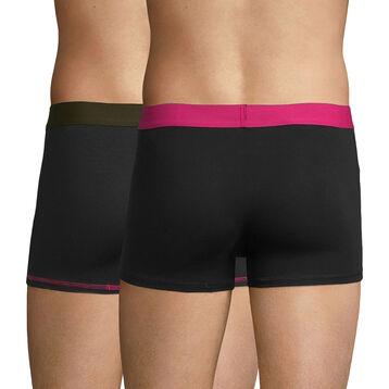 Lot de 2 boxers noirs ceintures et coutures fushia et kaki - Mix and Colors, , DIM
