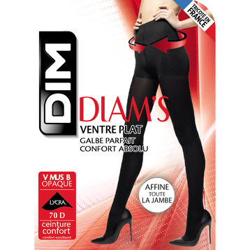 Collant ventre plat noir ultra opaque Diam's 67D, , DIM
