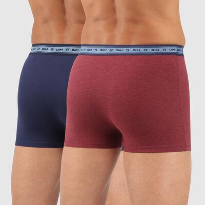 Lot de 2 boxers coton stretch bio rouge vin bleu denim Green by Dim, , DIM
