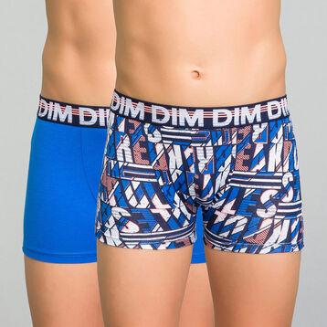 Lot de 2 boxers garçon bleu électrique et bleu imprimé - Eco Dim, , DIM
