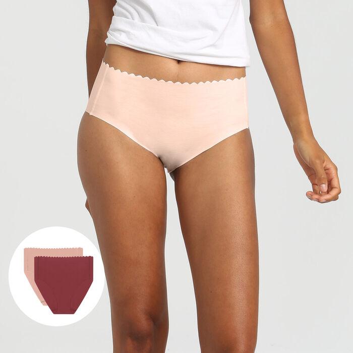Lot de 2 culottes taille haute coton chocolat/skin rose Body Touch, , DIM
