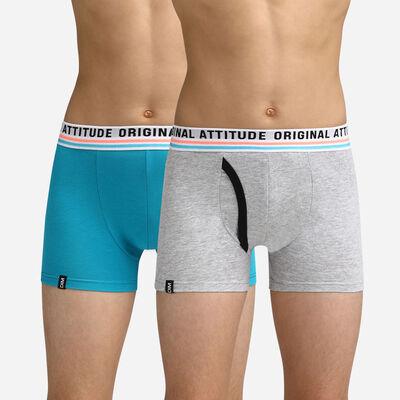 Lot de 2 boxers Garçon bleu et gris Dim Original, , DIM