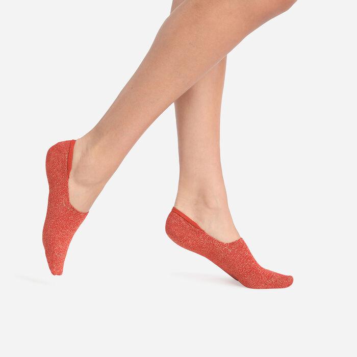 Lot de 2 paires de socquettes basses femme Rouille Lurex Coton Style, , DIM