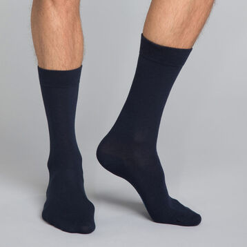 Mi-chaussettes classique coton X3 bleu Homme Basic Coton, , DIM