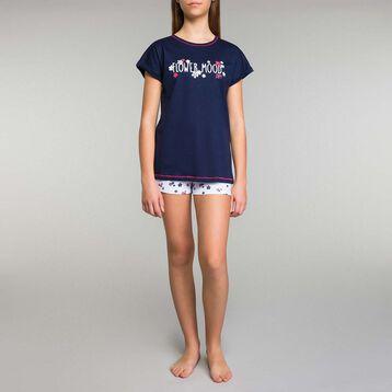 Pyjama fille 2 pièces short bleu imprimés fleurs - Stripes, , DIM