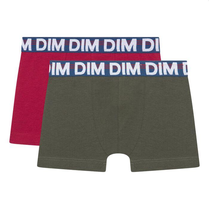 Lot de 2 boxers garçon coton stretch ceinture graphique Kaki Eco Dim, , DIM