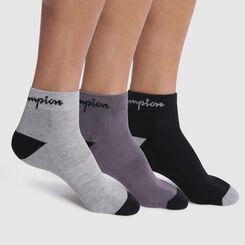 Lot de 3 socquettes noires, gris foncé et gris clair - Champion Performance, , DIM