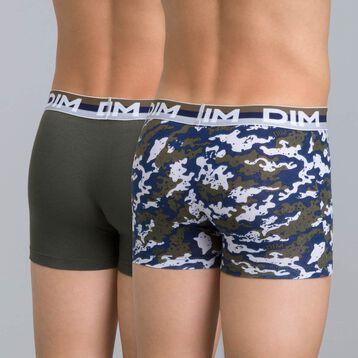 Lot de 2 boxers vert militaire et imprimé camouflage DIM Boy-DIM