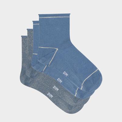 Lot de 2 paires de socquettes femmes lurex doré Bleu Coton Style, , DIM