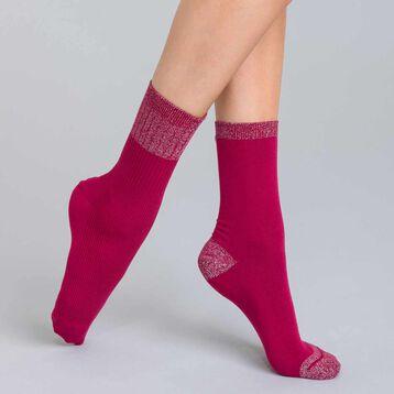 Lot de 2 chaussettes rayures lurex bordeaux Femme-DIM