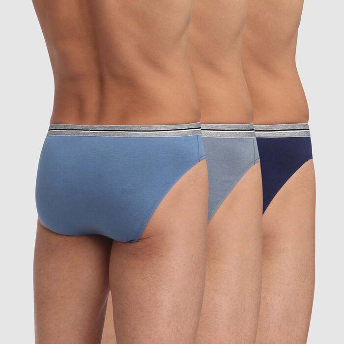 Lot de 3 slips bleu denim gris en coton stretch résistant Ultra Resist, , DIM