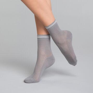 Socquette effet maillage gris argentique - Dim Coton Style, , DIM