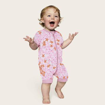 Barboteuse bébé fille zippée Imprimé Étoiles roses DIM Baby, , DIM