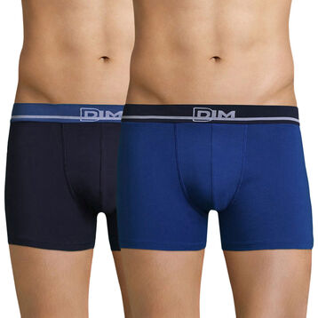 Lot de 2 boxers bleus en coton stretch Soft Touch , , DIM