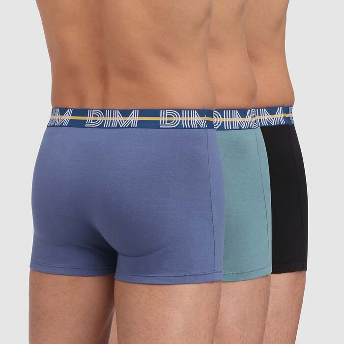 Lot de 3 boxers bleu noir coton stretch ceinture colorée Dim Powerful , , DIM