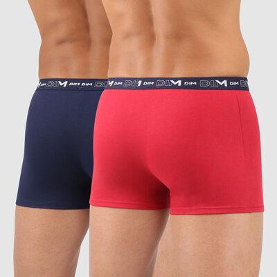 Lot de 2 boxers homme bleu denim rouge topaze Coton Stretch, , DIM
