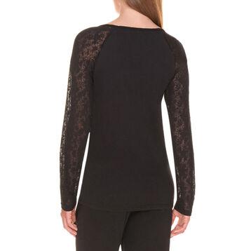 T-shirt de pyjama manches longues noir et dentelle Femme-DIM