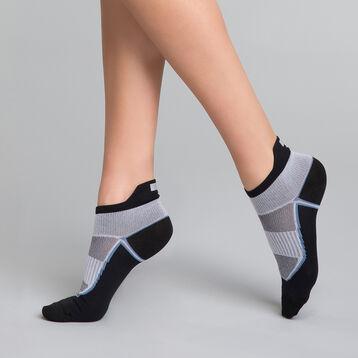 Socquettes courtes Femme impact fort noir blanc - Dim Sport, , DIM