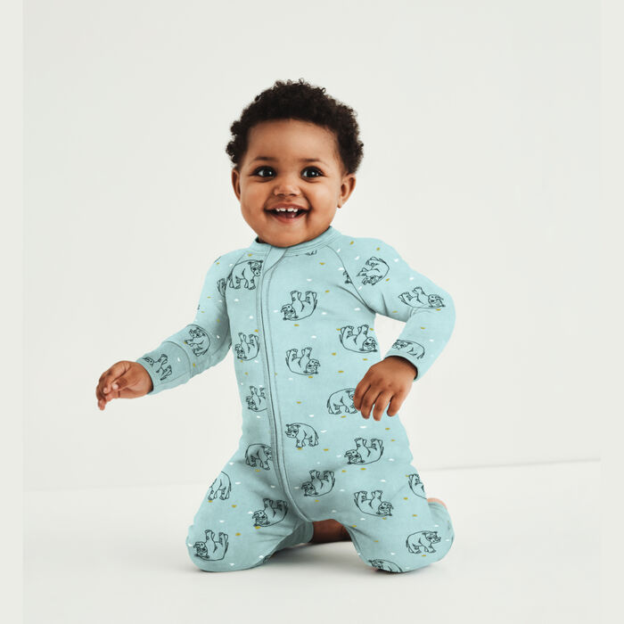 Pyjama bébé velours à zip double sens motif Rhino Bleu Dim baby, , DIM