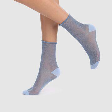 Socquette femme en lurex transparent bleu cachemire Dim Style, , DIM