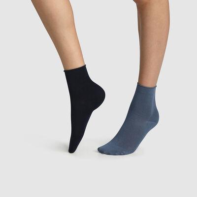 Lot de 2 paires de socquettes femme coton modal Bleu Marine Dim Modal, , DIM