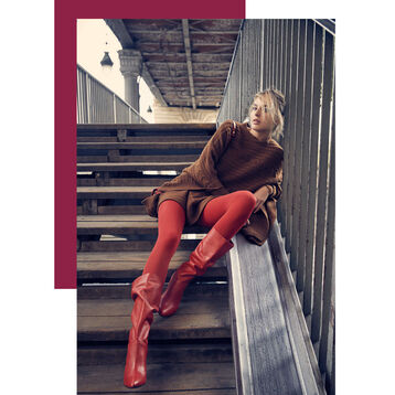 Collant rouge chili opaque velouté Style 50D-DIM