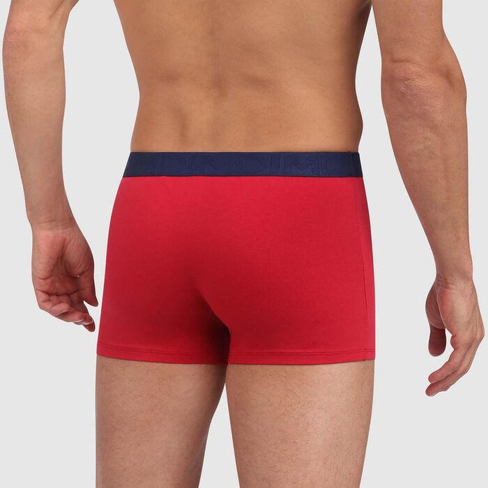 Boxer rouge topaze en coton stretch à ceinture contrastée Mix and Fancy, , DIM