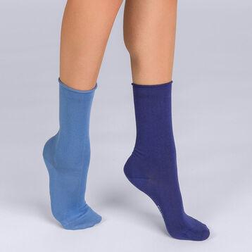 Mi-chaussettes Modal Duo X2 bleu et bleu marine Femme, , DIM