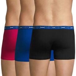 Lot de 3 boxers fuchsia, bleu et noir Coton Stretch-DIM