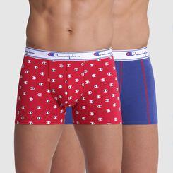 Lot de 2 boxers rouge imprimé logo et bleu coutures contrastées  - Champion, , DIM