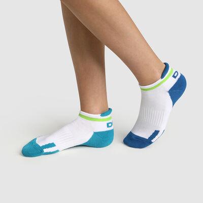 Lot de 2 paires de socquettes enfant rétro Bleu Vert Dim Sport, , DIM
