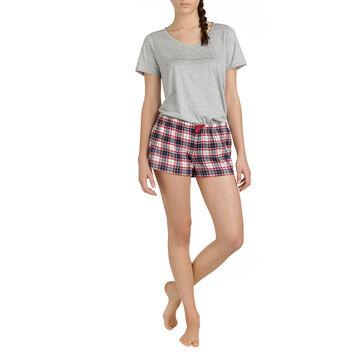 Short de pyjama à carreaux 100% coton Femme-DIM