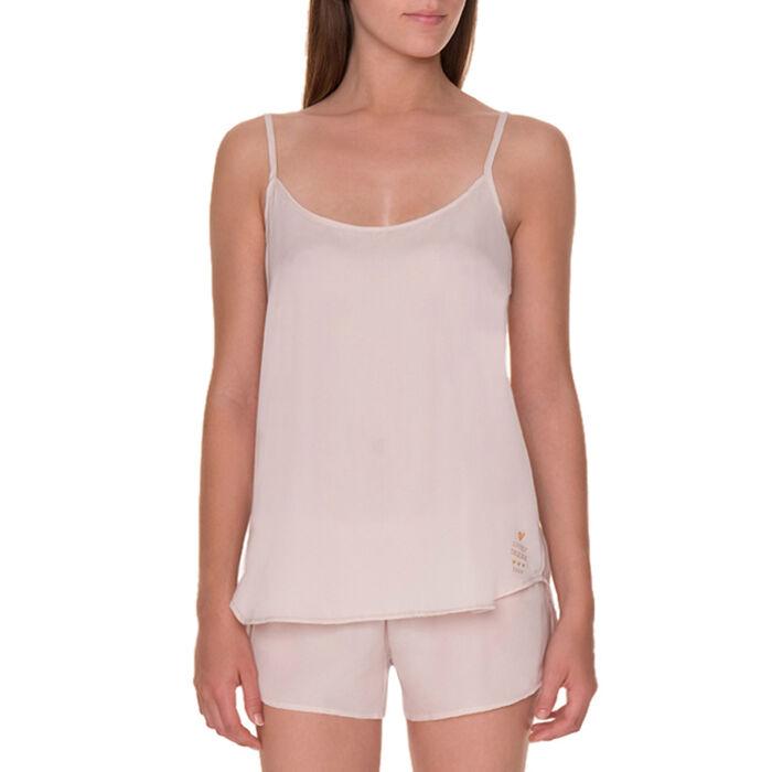 Caraco de pyjama soyeux à fines bretelles peau rosée-DIM