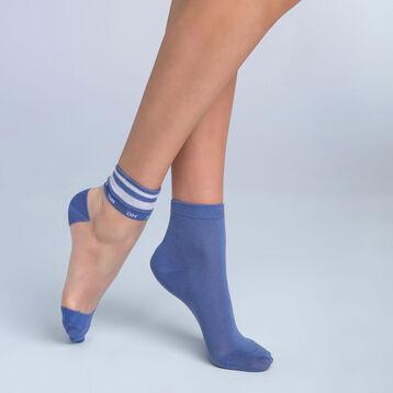 Lot de 2 socquettes Sport Chic bleu Femme Style, , DIM