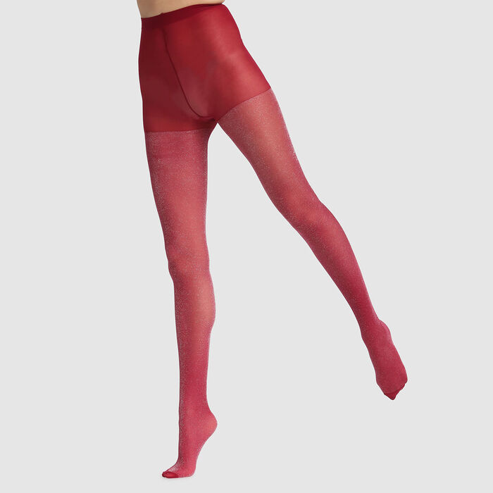 Collant fantaisie en lurex rose foncé Dim Style 23D, , DIM