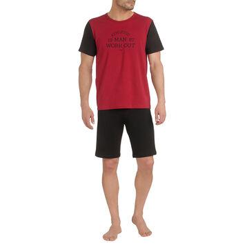 T-shirt de pyjama manches courtes bordeaux et noir Homme-DIM