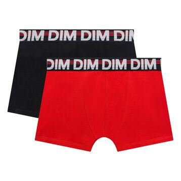 Lot de 2 boxers garçon noir et coquelicot - Eco Dim, , DIM