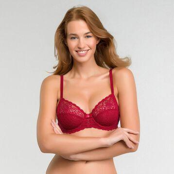 Soutien-gorge emboîtant dentelle rouge impérial - Dim Sublim Dentelle, , DIM