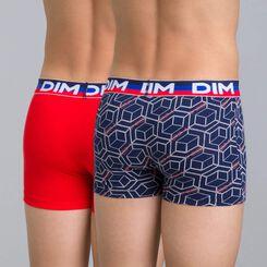 Lot de 2 boxers bleu matelot imprimé et rouge Eco DIM Boy-DIM