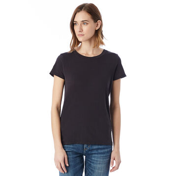 T-shirt Vintage noir à manches courtes 100% coton Femme-DIM