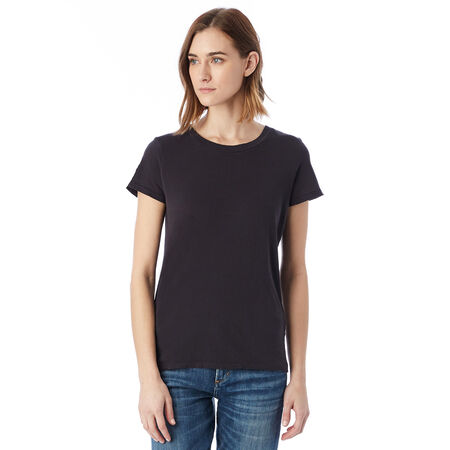T-shirt Vintage noir à manches courtes 100% coton Femme 5d183ede614